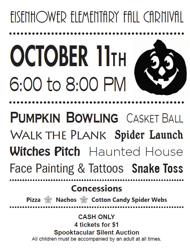 Flyer for Eisenhower Fall Carnival. All information is above.