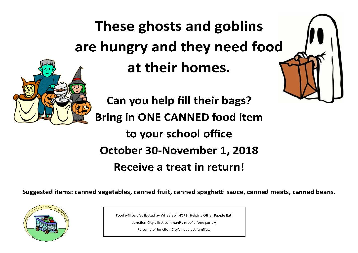 Flyer for canned food drive. All information is above.