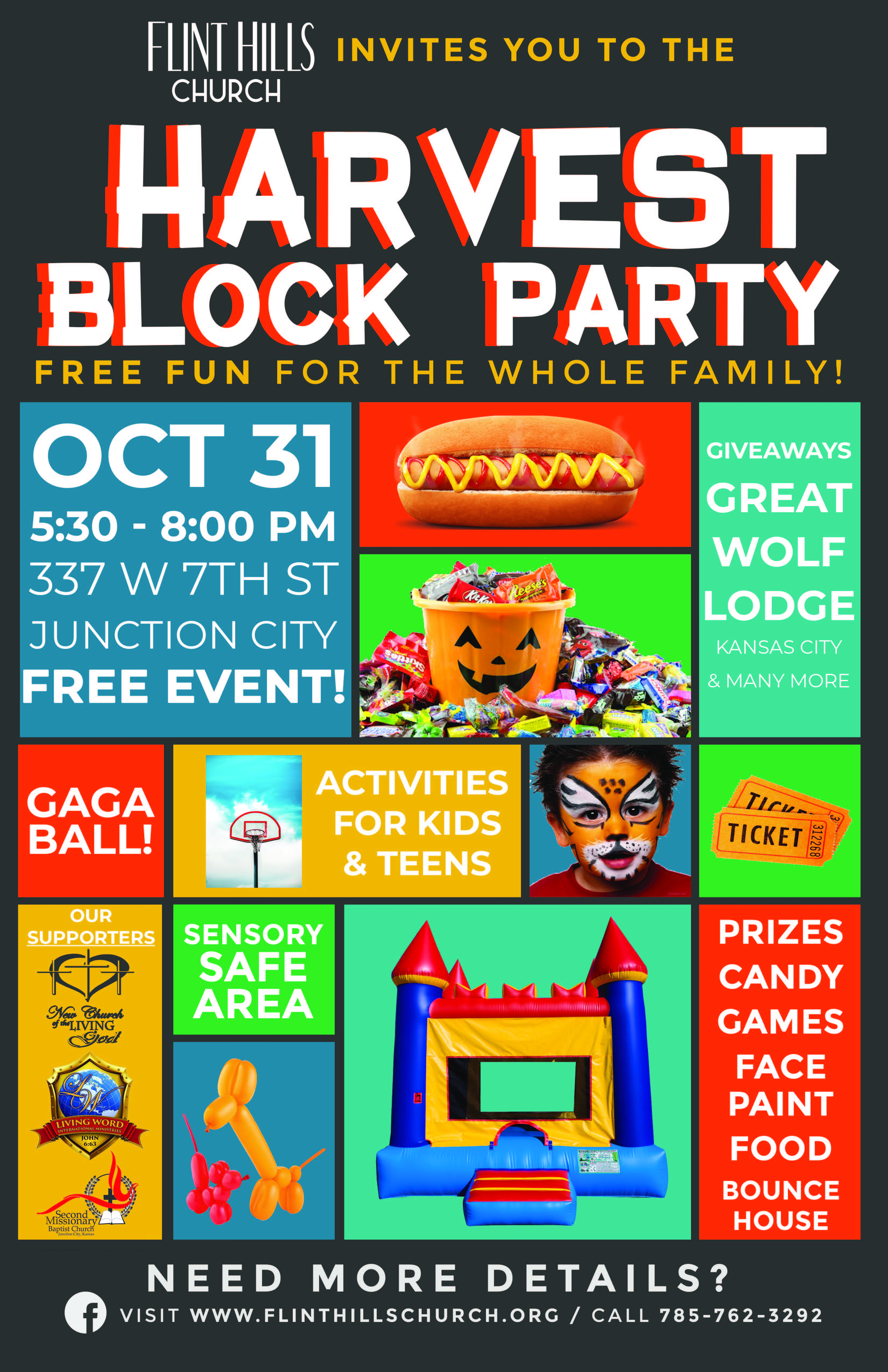 Flyer for Harvest Block Party. All information is above.