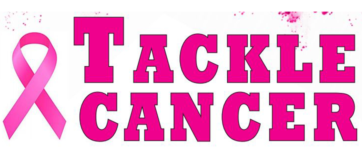 "Pink ribbon with words ""Tackle Cancer"""