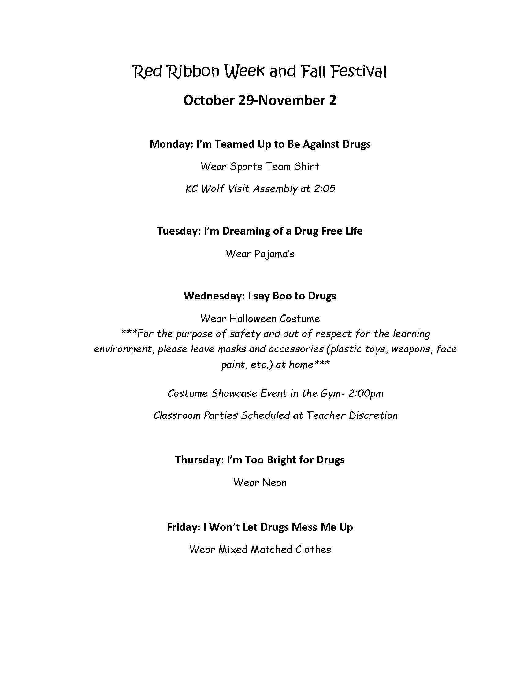 Flyer for Red Ribbon Week. All information is above.