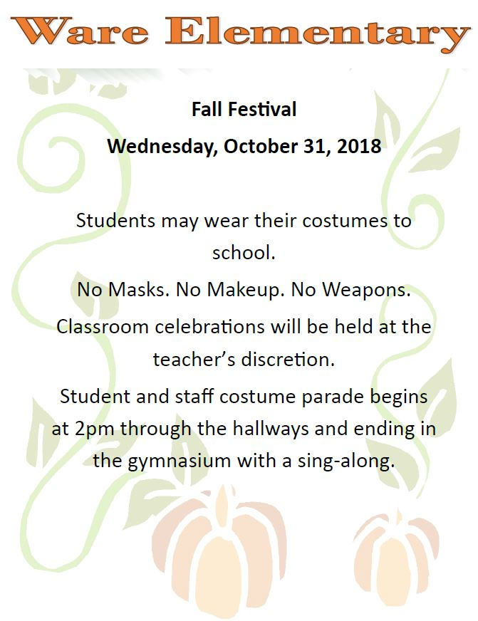 Flyer for Ware Fall Fest. All information is above.