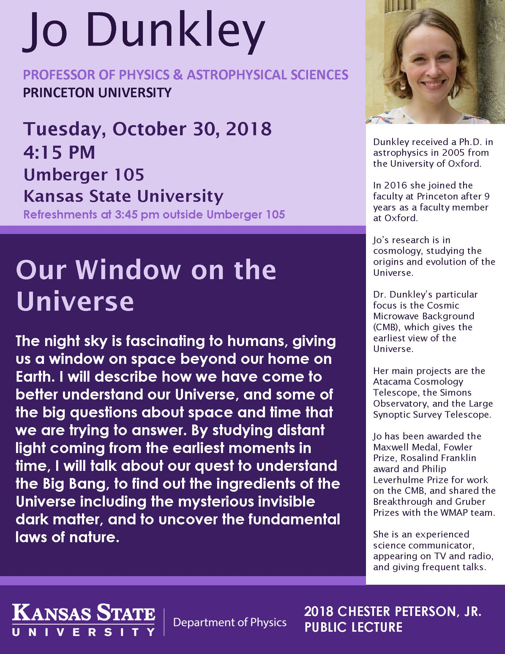 Flyer for Jo Dunkley's Lecture: Our Window on the Universe. All information is above.