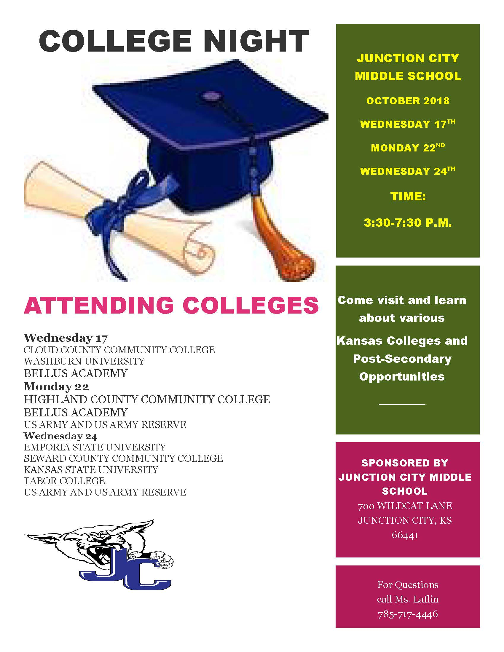 Flyer for College Night. All information is above.