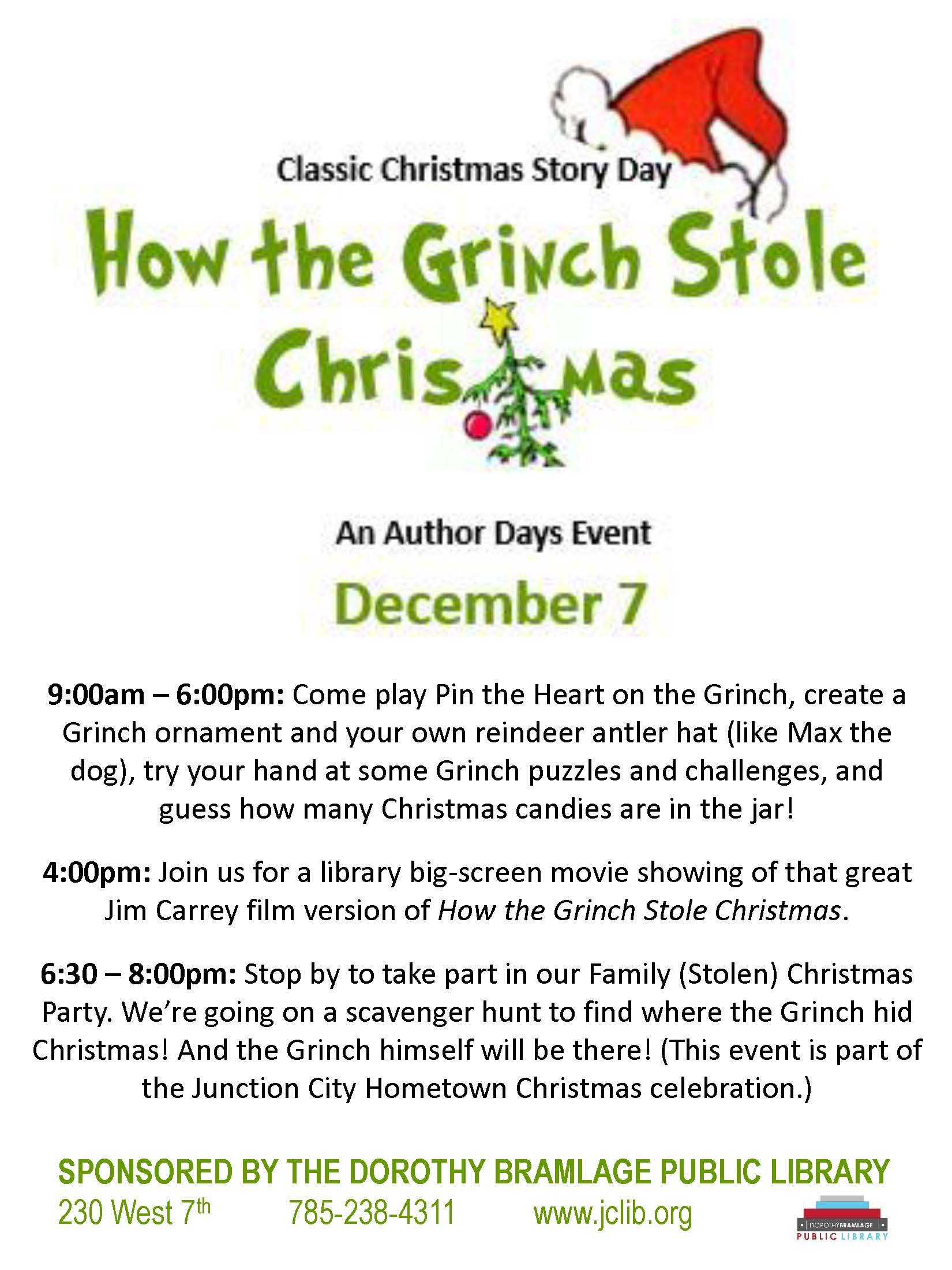 Flyer for How the Grinch Stole Christmas Story Day. All information is above.
