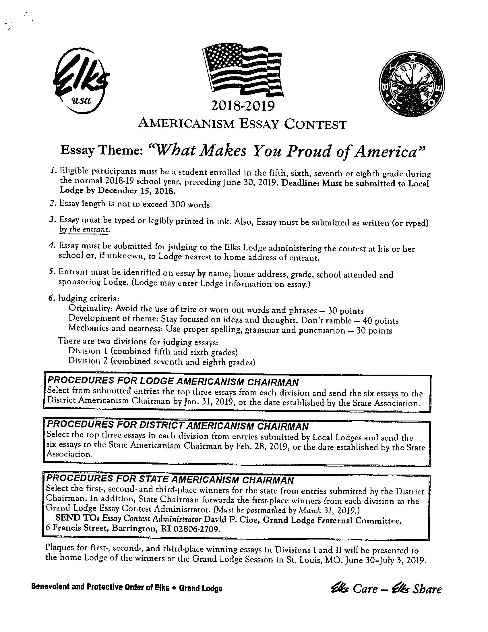 Essay contest info/cover sheet. PDF provided.