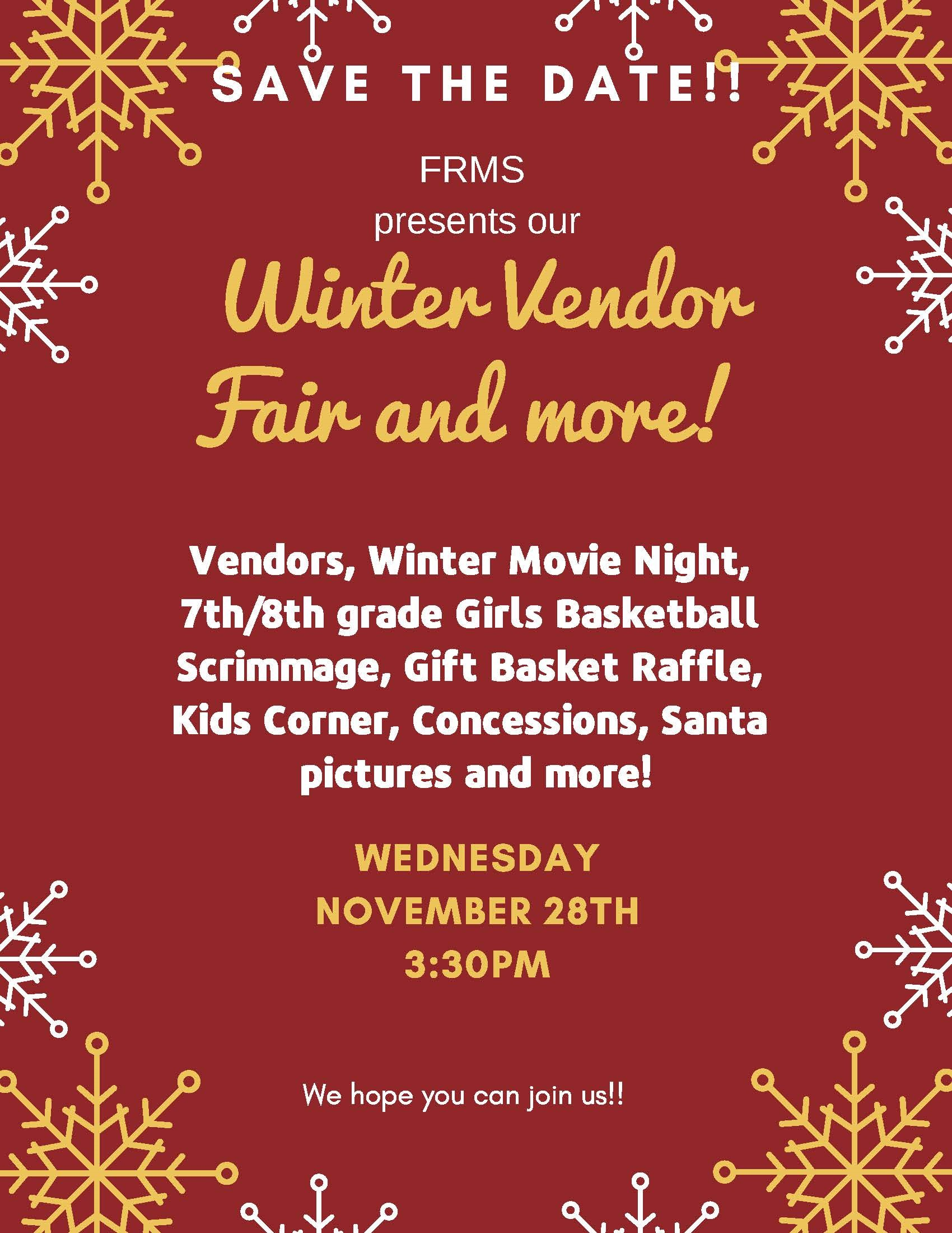 Flyer for the winter vendor fair. All information is above.