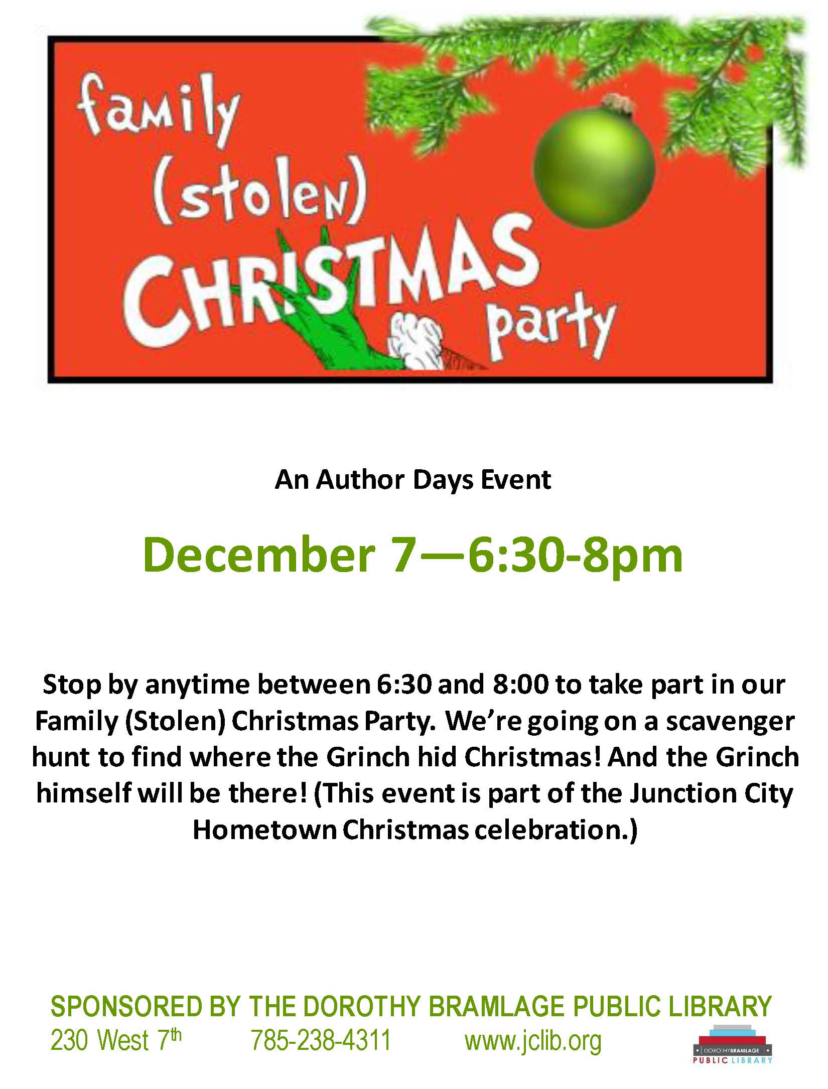 Flyer for A Family Stolen Christmas Party. All information is above.