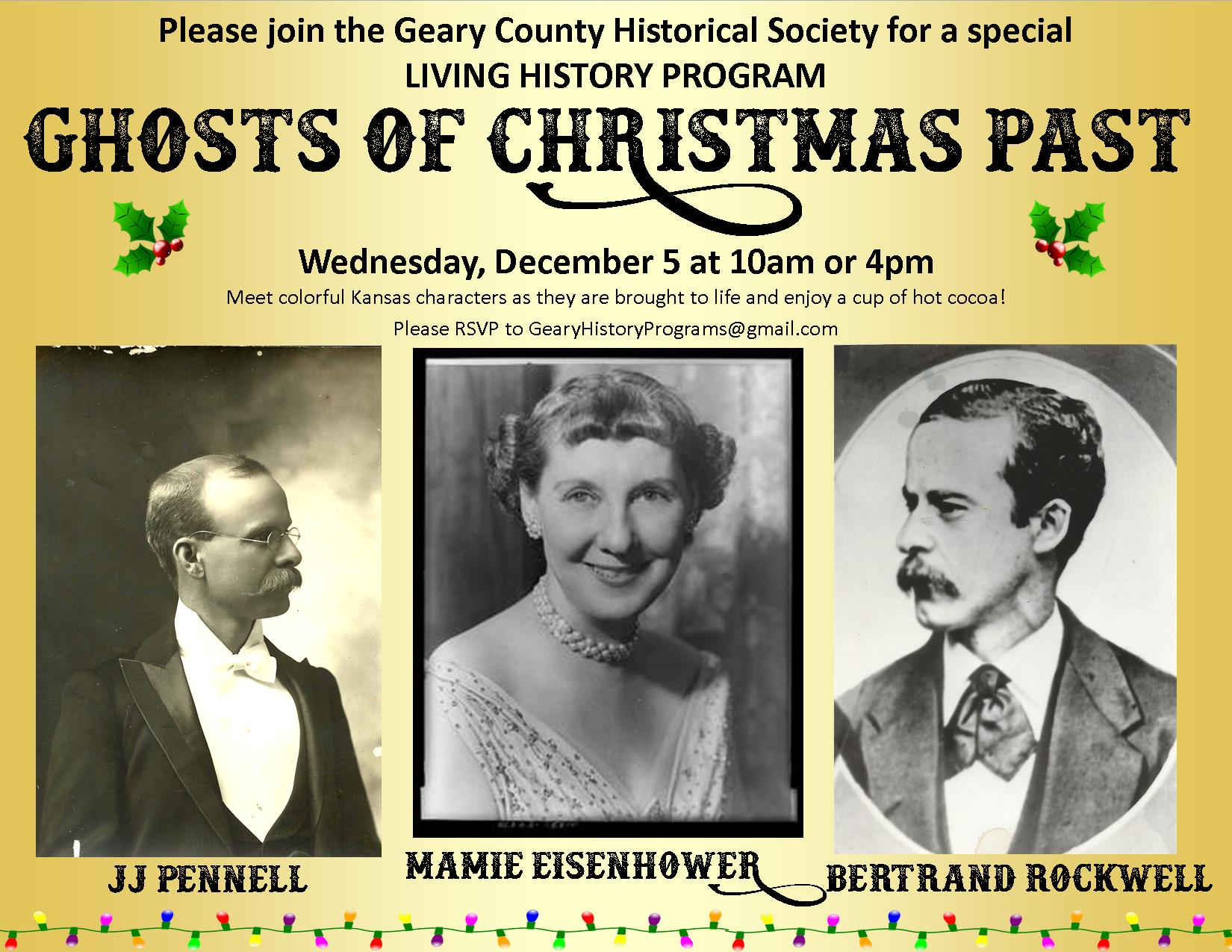 Flyer for Ghosts of Christmas Past. All information is above.