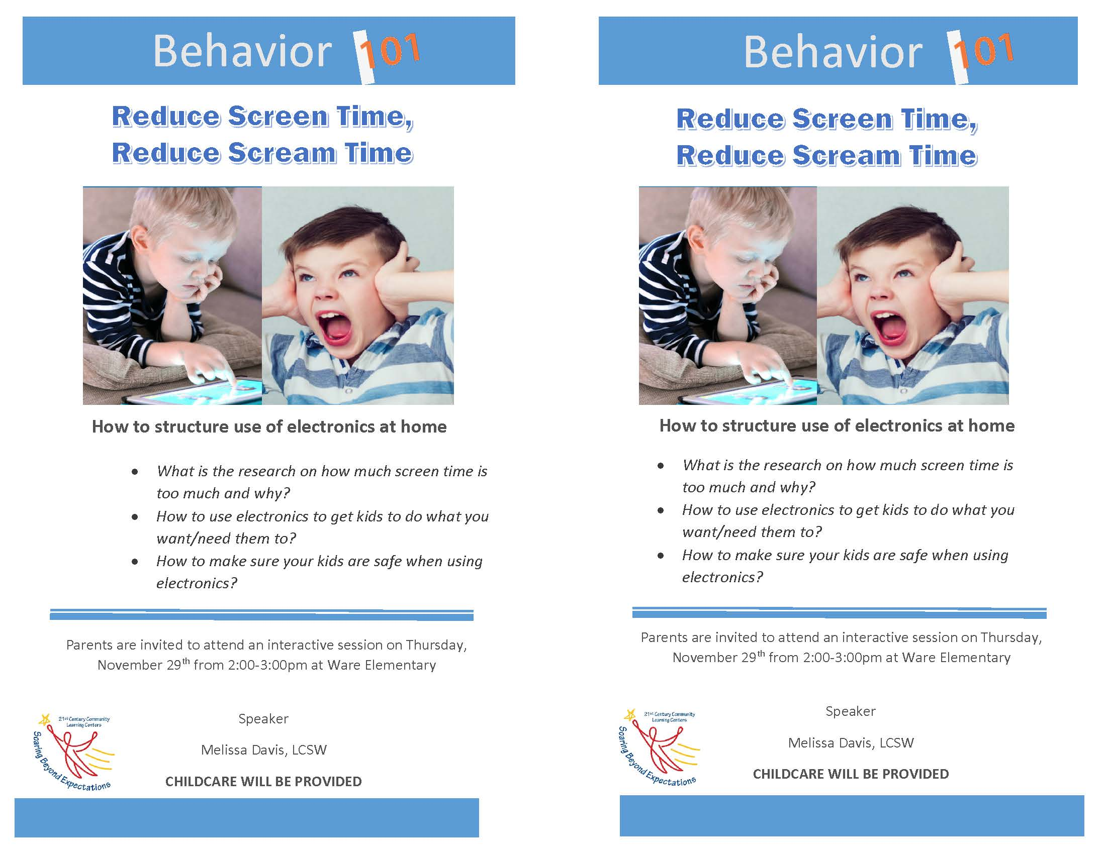 Flyer on Behavior 101- Reducing Screen Time. All information is above.