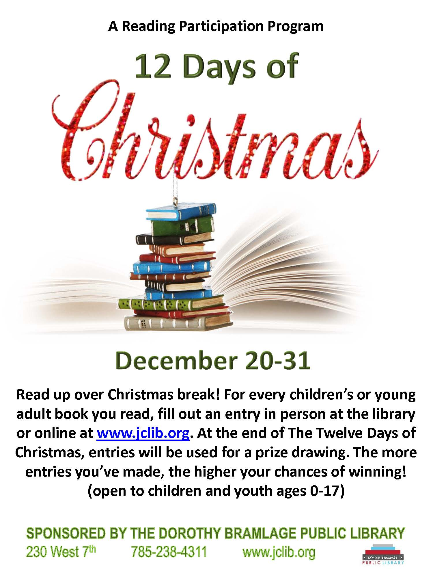 Flyer for Reading Participation Program: 12 Days of Christmas. All information is above.
