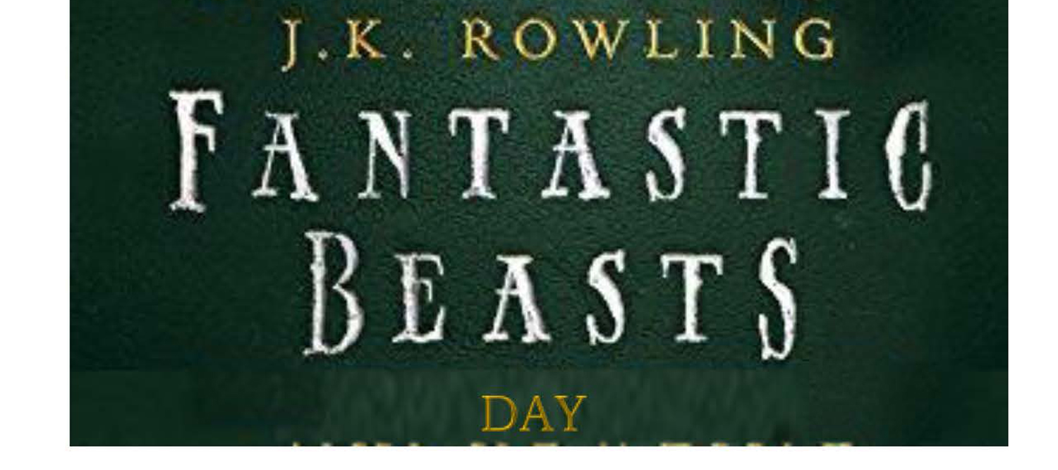 "Green background with text ""J.K. Rowling Fantastic Beasts"""