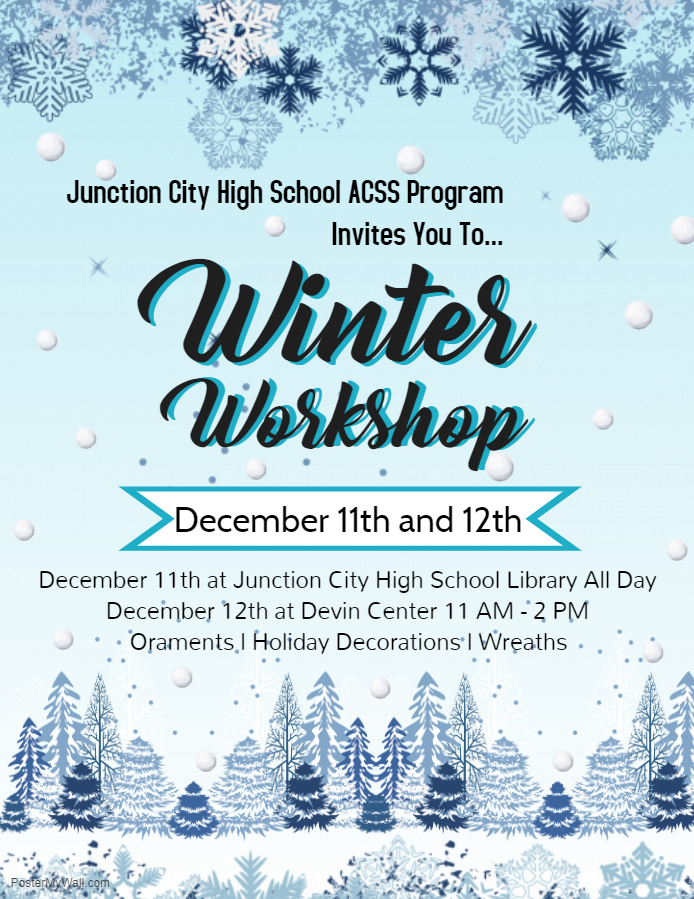 Flyer for Winter Workshop. All information is above.