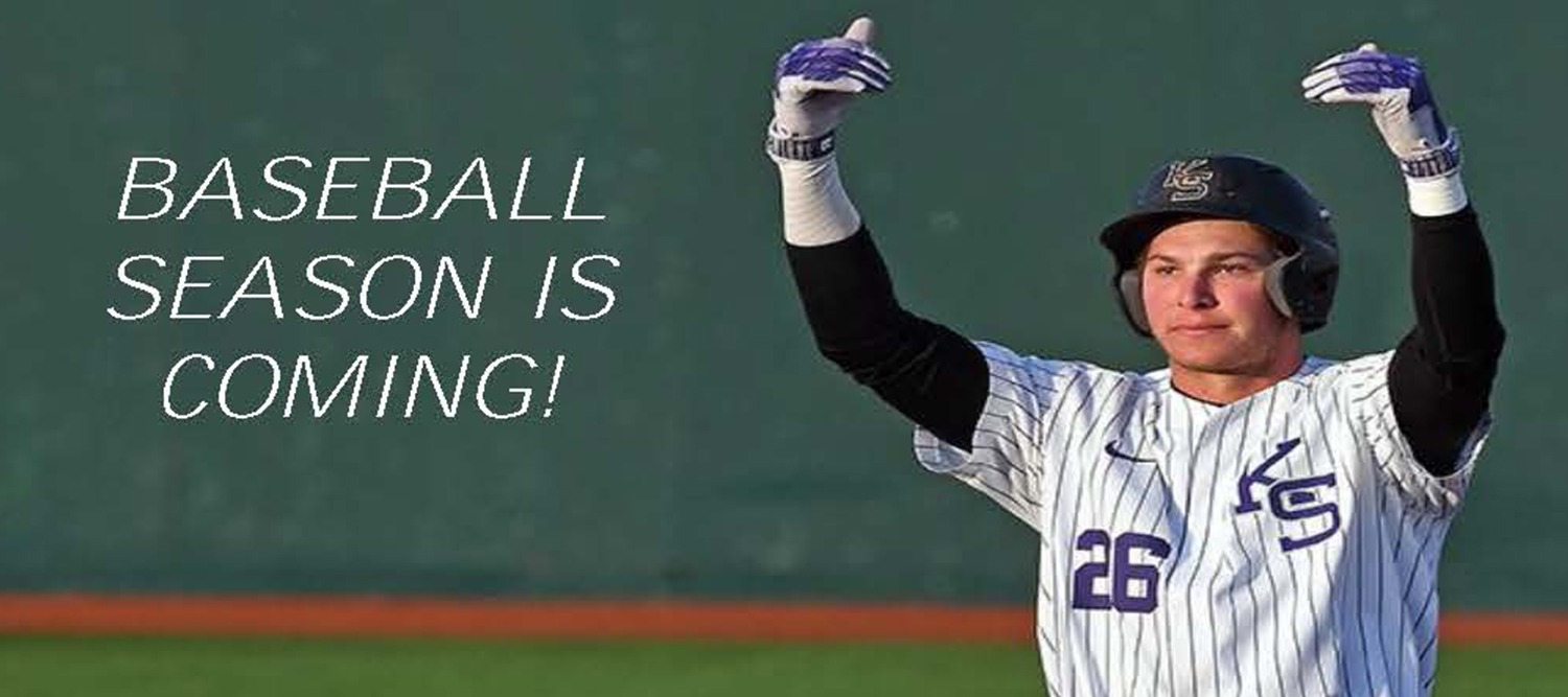 "Photo of baseball player with text ""Baseball season is coming"""