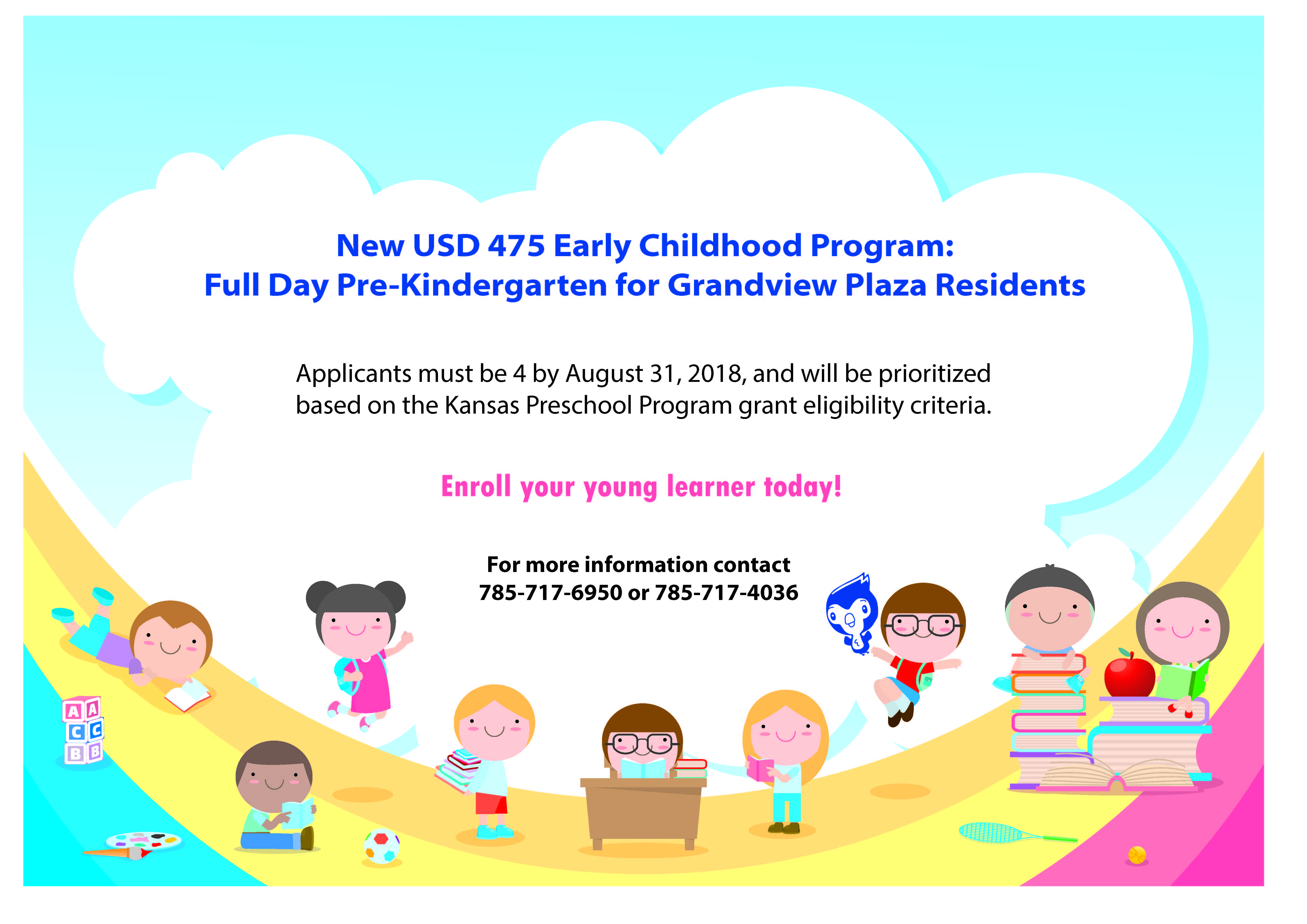 Flyer for Grandview ECC Program. All information is above.