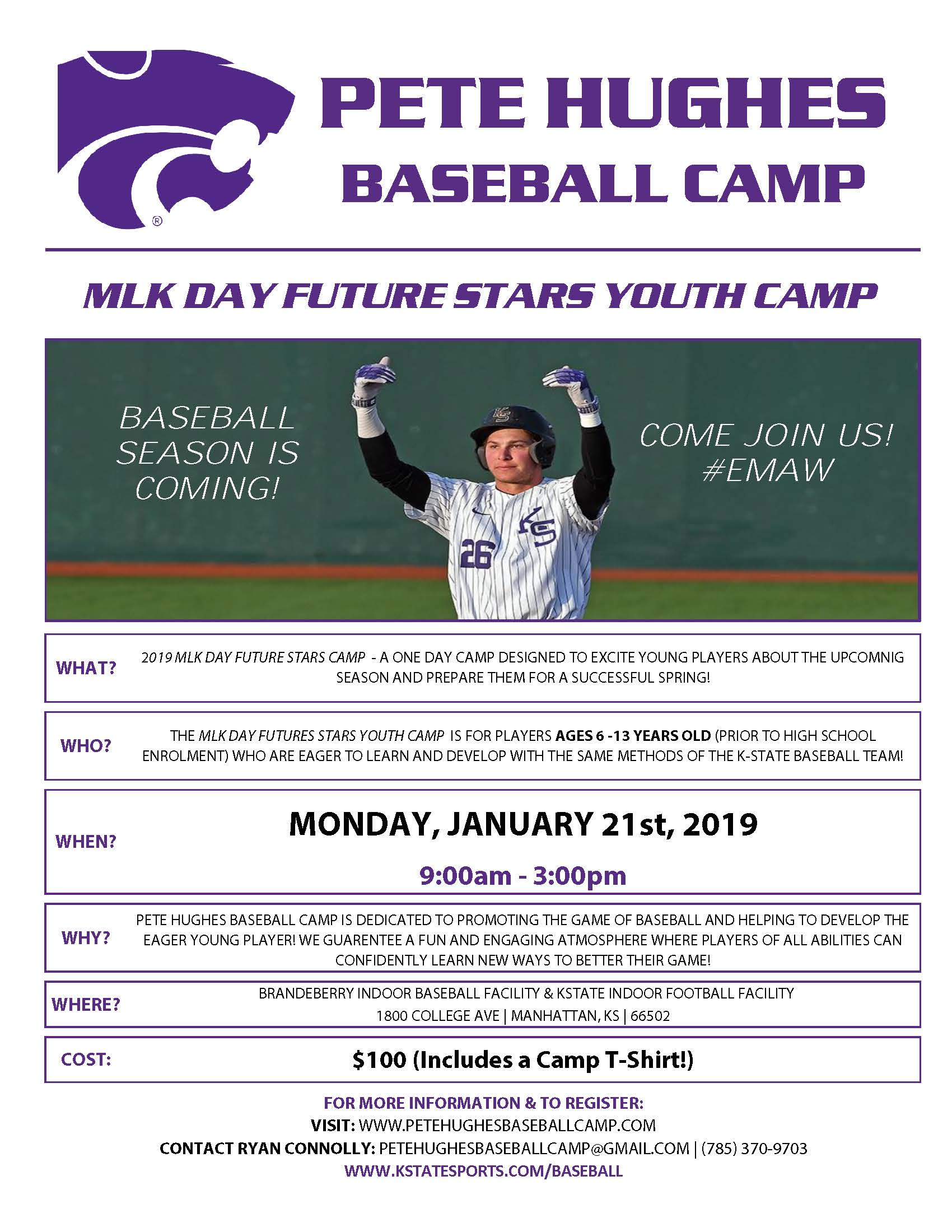 Flyer for Pete Hughes Baseball Camp. All information is above.