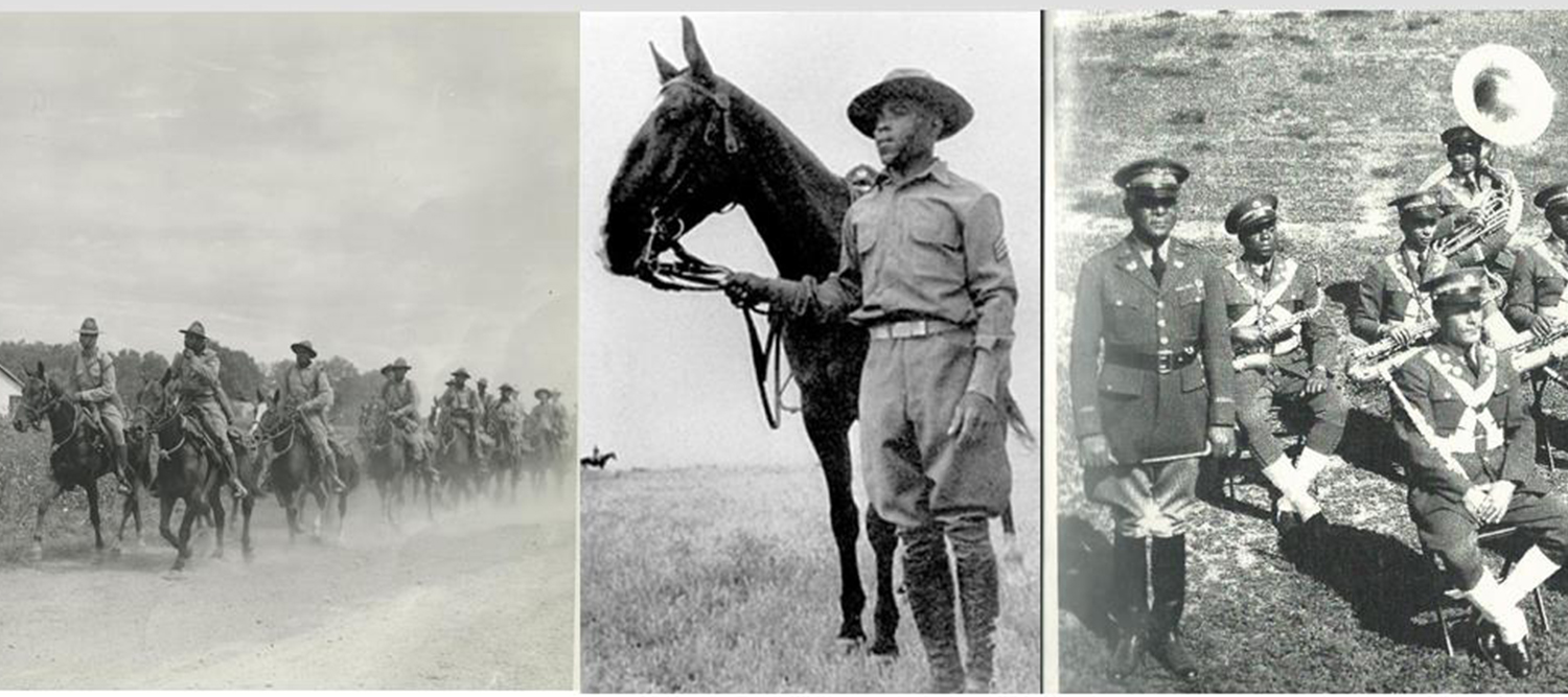Photos of Buffalo Soldiers and horses.